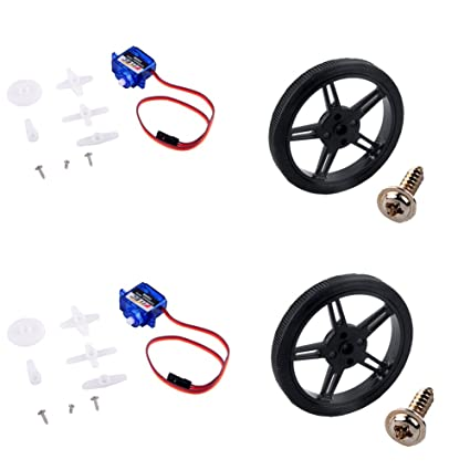 Feetech FS90R Micro Servo, 360 Degree Continuous Rotation Mini RC Servo  Motor with Wheel 6V 1 5KG for Arduino RC Car Robot (2 Pack)