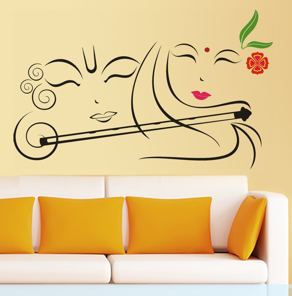 Buy Decals Design \'Radhe Krishna with Flute\' Wall Sticker (PVC Vinyl ...