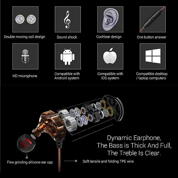 Lanyasir S200 - Auriculares in-Ear para Smartphones, Ordenadores y ...