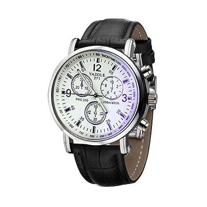 Relojes Hombre Mujer,Xinan Cuero de Imitación Relojes de Cuarzo Analógico Blue Ray Cristal (