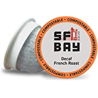 SF Bay Coffee DECAF French Roast 12 Ct Swiss Water Processed Dark Roast Compostable Coffee Pods, K Cup Compatible including Keurig 2.0