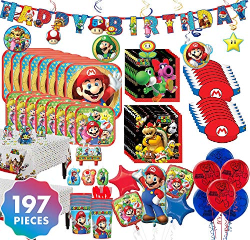 Party City Super Mario Mega Ultimate Party Kit for 16 Guests, 197 Pieces, Includes Tableware, Decorations, and Balloons