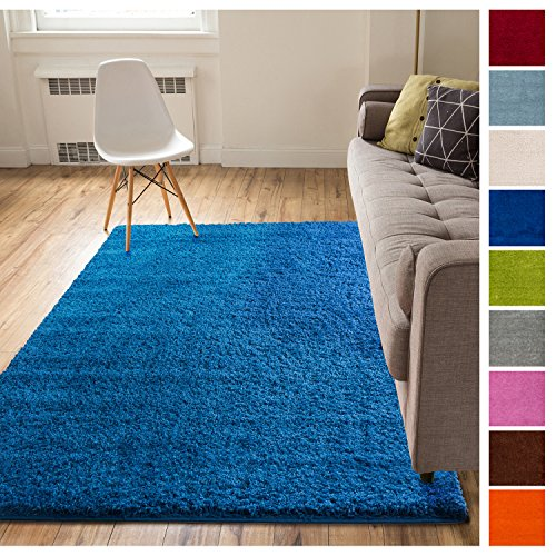 Rug Blue Royal (Solid Retro Modern Dark Blue Shag 5x7 ( 5' x 7'2'' ) Area Rug Plain Plush Easy Care Thick Soft Plush Living Room Kids Bedroom)