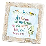 My House Joshua 24:15 Bird House 4 x 4 Natural Tile Easel Back