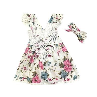 6424410bc9e9e Oyedens Fille 6 Mois à 4 Ans Vetement Bebe Fille Robe De Princesse Fille  Floral Dentelle