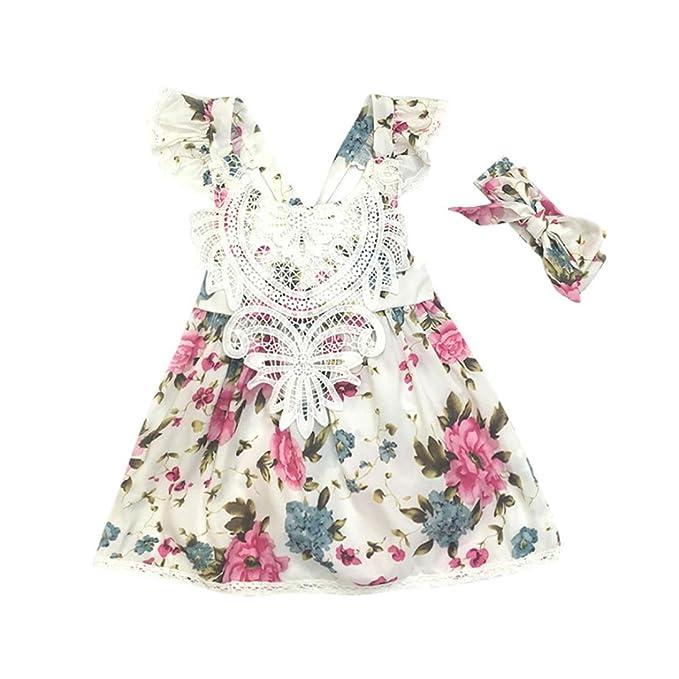 b9a4dd37b K-youth Vestido para Niñas, 2018 Correa para Bebé PequeñA De 2 Piezas  Vestidos De Princesa Sin Mangas Florales Ropa Bebe Niña Recien Nacida +  Diadema: ...