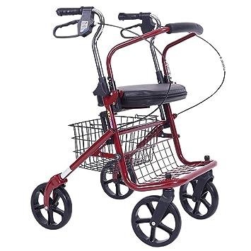 Andador de andador de cuatro ruedas plegable con asiento ...