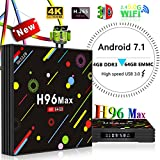 Yongf 4G 64GB TV Box, H96 MAX Android 7.1 tv Box RK3328 Quad-Core 64bit Cortex-A53 4 GB 64G Penta-Core Mali-450 Up to 750Mhz+ Full HD/H.265 / Dual WiFi BT 4.1 Smart Media Player,smart tv box