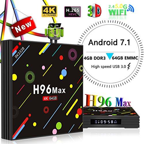 Yongf 4G 64GB TV Box, H96 MAX Android 7.1 tv Box RK3328 Quad-Core 64bit Cortex-A53 4 GB 64G Penta-Core Mali-450 Up to 750Mhz+ Full HD/H.265 / Dual WiFi BT 4.1 Smart Media Player,smart tv box by Yongf