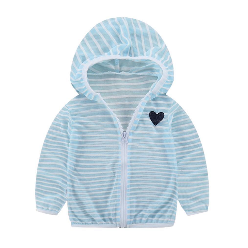 G-real Fashion Toddler Boys Girls Sunscreen Hooded Jacket Coat Lightweight Striped Heart Summer Outwear