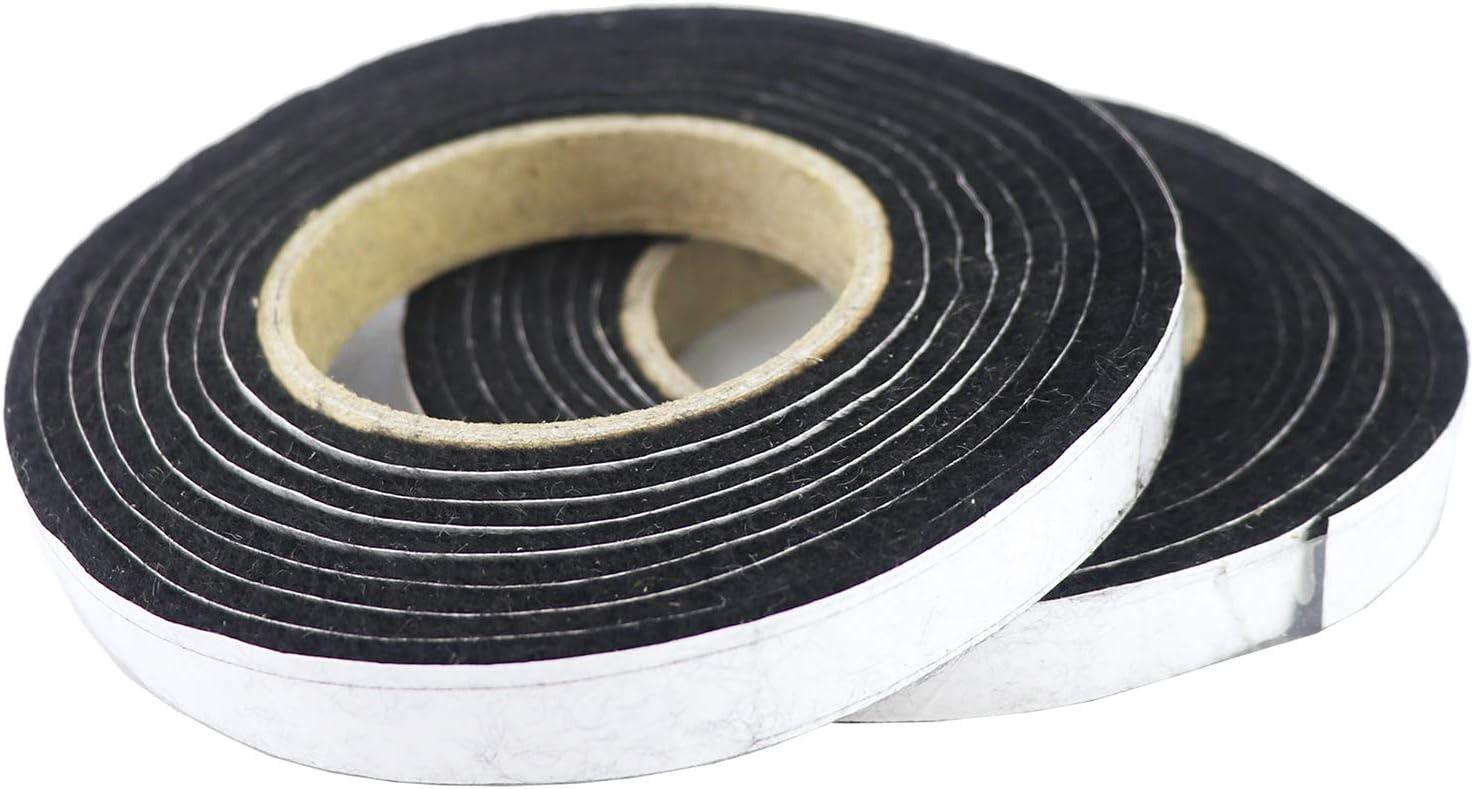 LANUCN BBQ Self Stick Nomex ahumadores Banda de Sellado/Horno Door Seal Hopper Lid Sellado Strip/Smoke Keeping/Heat Banda de Sellado Resistente Gasket (8,2 pies, 1/2 '', 1/8 '', 2 Pack) (Negro)