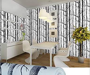 Guanxing Birch Tree Wallpaper Modern Black White Woods Forest Mural Roll 10M