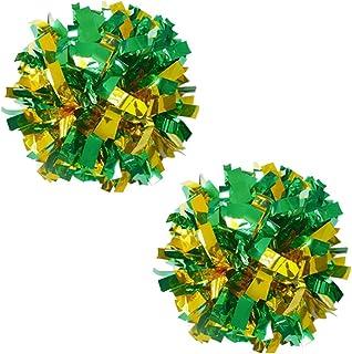 Lot de 2 plastique Anneau Pom Poms Metallic Cheerleading 100g Vert+Gold Blancho Bedding