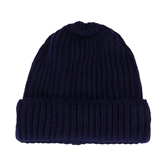 54a1aef0ca3 Fashion Ribbed Knitted Wool Ski Cap Winter Warm Solid Color Beanies Single  Layer Cuff Vertical Stripes Hat (Navy)  Amazon.in  Clothing   Accessories