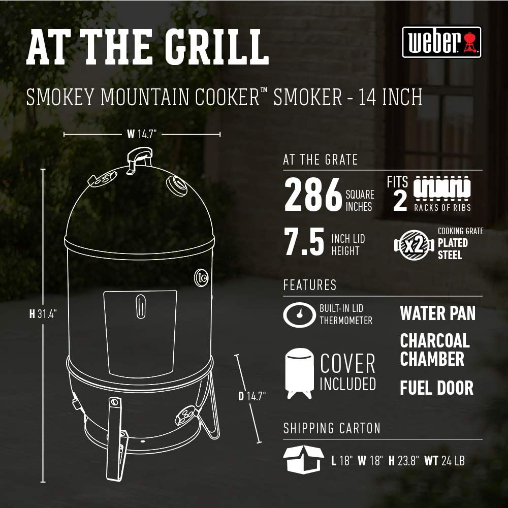 Weber Smokey Mountain Cooker 14inch Specifications