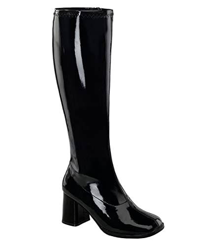 f60afba61b8 Womens Knee High Boots GOGO 3 Inch Wide Calf Sexy Block Heel Knee Boot  Black Pat