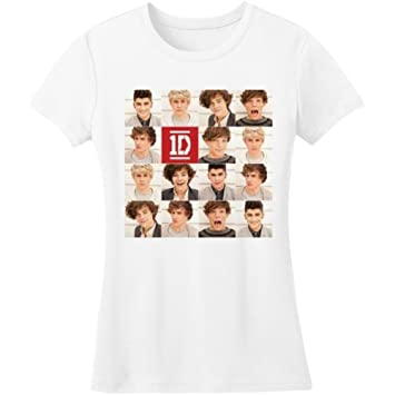 a8a86e244 Amazon.com : One Direction Polaroid Band Official Womens New White Skinny  Fit T Shirt : Sports & Outdoors