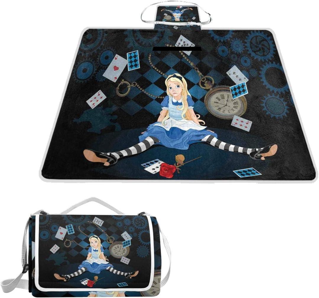 XINGAKA Manta de Picnic Impermeable,Tamaño Adulto Alice sentada con Tarjetas de fying y Dibujos Animados de Rayas de Flores Color de Rosa,Alfombra Plegable para Camping Parque