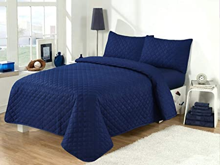 MIA Quilted Bedspreads King Size and Embossed Bedspread double bed 3 Pcs Comforter Set Bedspreads and throws ultrasonic microfibre for Single Double King Super King size bed Double 220X250 CM, Blue