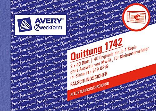 Avery Zweckform 1742 Quittung Kleinunternehmer (A6 quer, selbstdurchschreibend, 2x40 Blatt) weiß/gelb