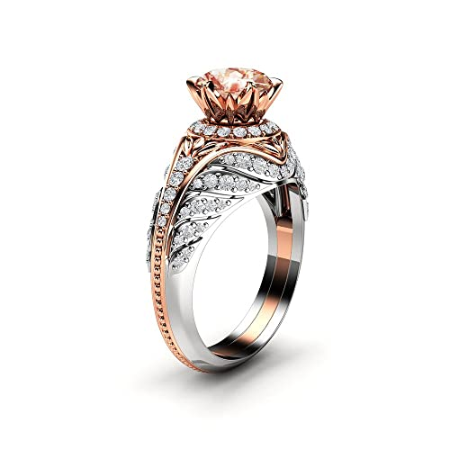 Amazon Com Peach Sapphire Engagement Ring 2 Tone Gold Ring Diamond