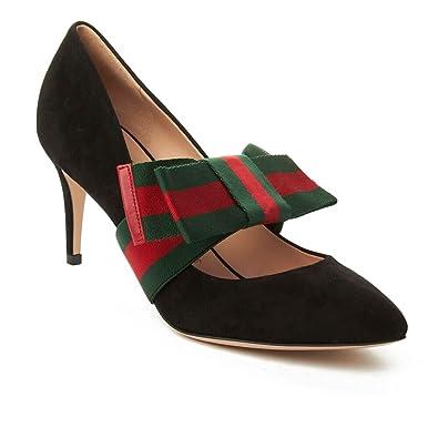 9866370c159 Gucci Women s Suede Removable Web Bow Pump Shoes Black  Amazon.co.uk  Shoes    Bags
