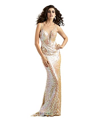 Amazon.com: Sequin Racer Back Iridescent Evening or Prom Dress 2318 ...