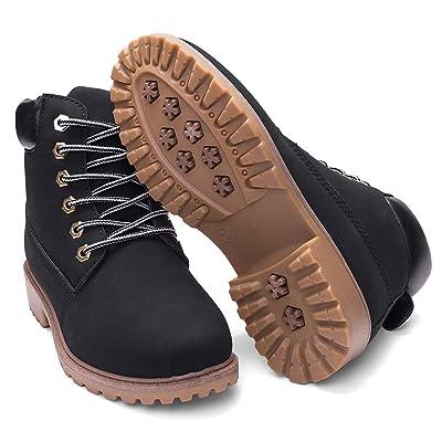 DADAWEN Women's Lace Up Low Heel Work Combat Boots Waterproof Ankle Bootie | Ankle & Bootie
