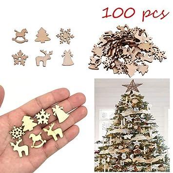 31d573b0028e Semine 100 Piezas de Madera Natural Reno Copo de Nieve árbol de Navidad  Decorativos Adornos Colgantes Accesorios de Bricolaje  Amazon.es  Hogar