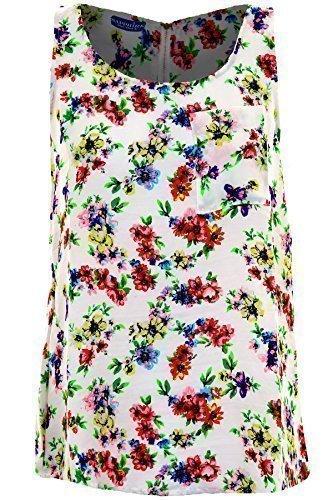 ZAFIRO Mujer Floral Azteca Pájaro Estampado De Mariposas Mujer Sin Mangas Top De Chifón Camiseta -