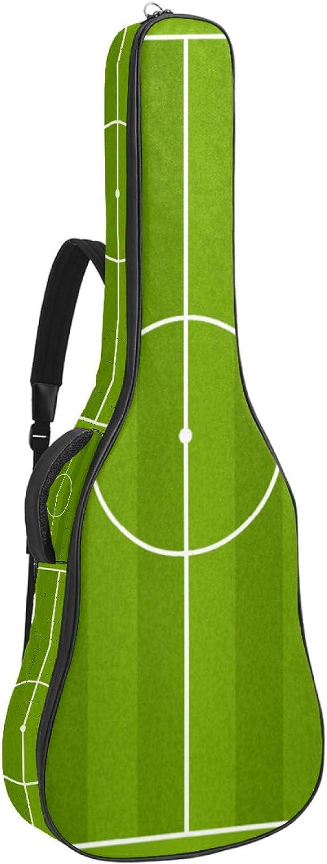 Funda de Guitarra Campo de fútbol verde Bolso de guitarra 40 41 pulgadas 10mm Acolchada con 2 bolsillos para Guitarra Acústica Clásica y Eléctrica 109x43x12cm