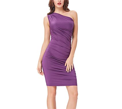 AUUOCC Purple Short Cocktail Dresses Bodycon Slim Pencil Dress High Stretchy One Shoulder Cheap Summer Dress