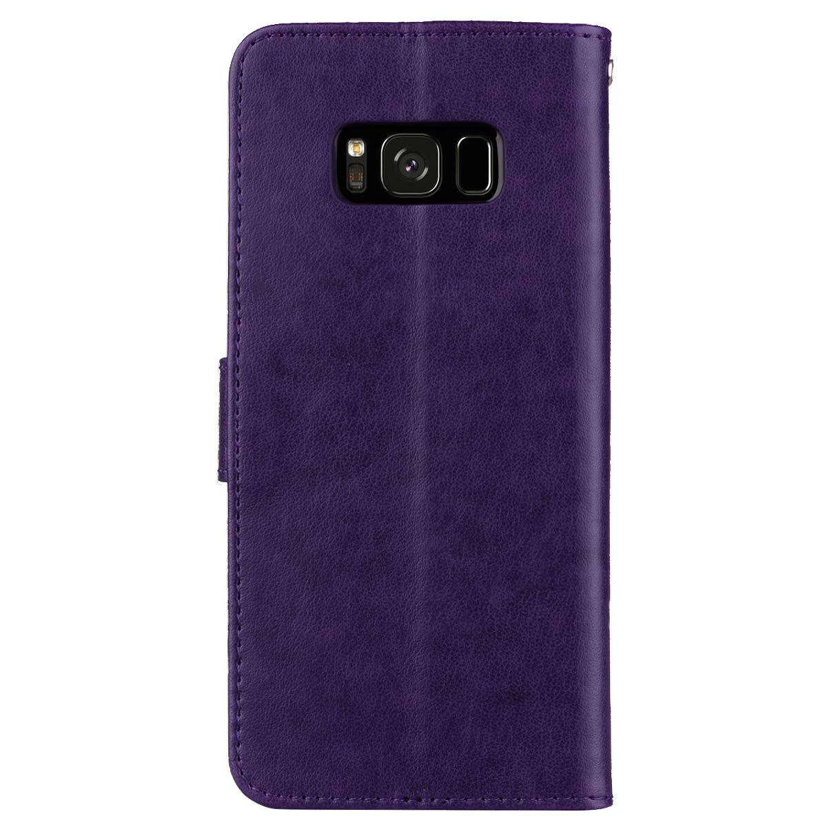 Rouge Hpory Coque Compatible avec Samsung Galaxy S8 Housse Etui en Cuir Coque /à Rabat Magn/étique Portefeuille Cover Case en Relief Rose Fleurs Pure Color PU Cuir Wallet Case