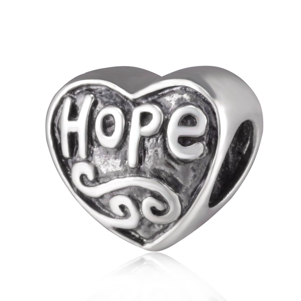 Choruslove Hope Heart Charm Antique 925 Sterling Silver Bead for European Bracelet Snake Chain