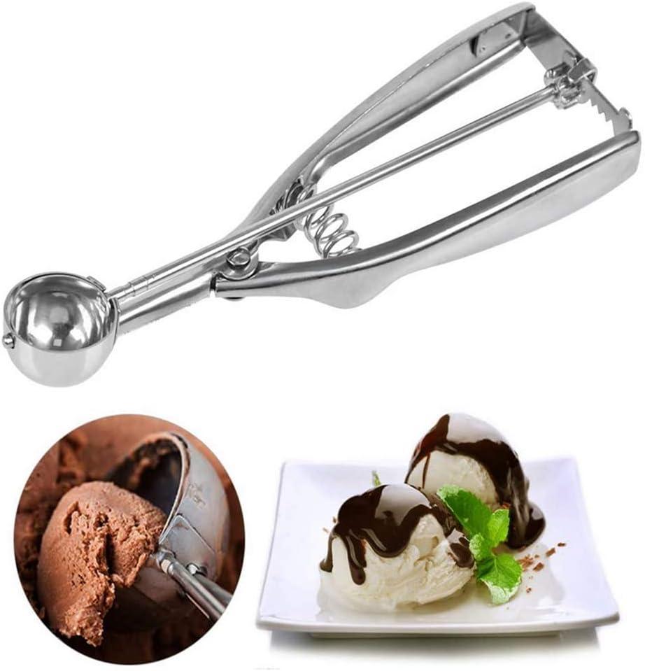 Anlising - Cuchara de helado de acero inoxidable de 40 mm, para helado de acero inoxidable, para helado, galletas, pastas, melón, plata