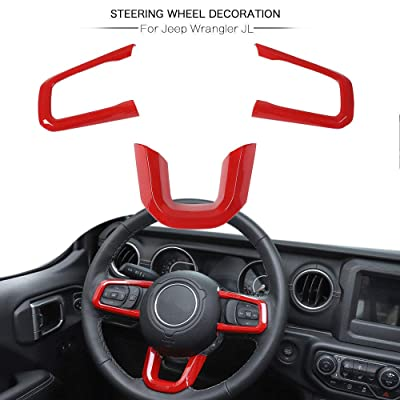 RT-TCZ Red ABS Auto Steering Wheel Moulding Frame Cover Trim for 2020 2020 Jeep Wrangler JL: Automotive