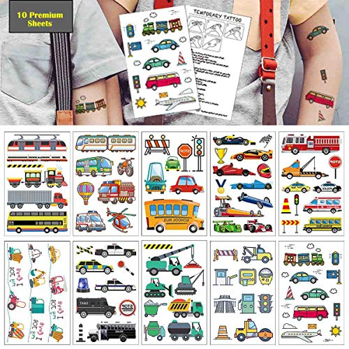 Cars Temporary Tattoos (90+ designs),COKOHAPPY 10 Sheets Car Tattoos Party Favors for Kids Birthday Party Supplies Tattoos Stickers Costume Accessories for Boy Kids ()