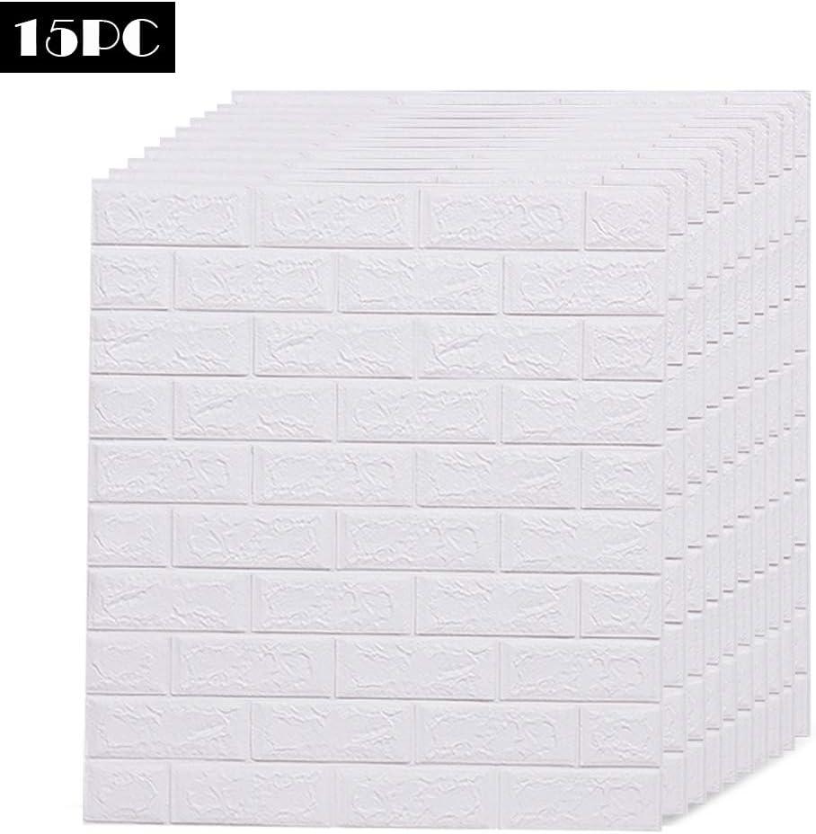 AMERLIFE 3D Wallpaper Foam Brick Wall Panels Self Adhesive Wall Sticker for Interior Wall Decor 5PC White Brick Wallpaper 29 Sq Ft