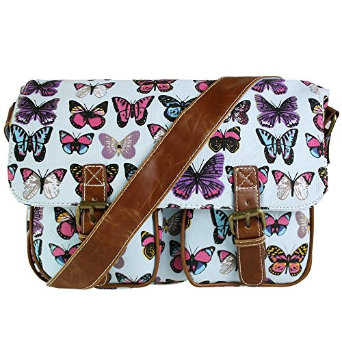 OR MESSENGER MISS HAND SCHOOL LULU Canvas VINTAGE BODY RETRO BAG Light Blue Butterfly CANVAS LADIES OWL BUTTERFLY CROSS SATCHEL LEAVES OILCLOTH SHOULDER ZwgO0wCqa