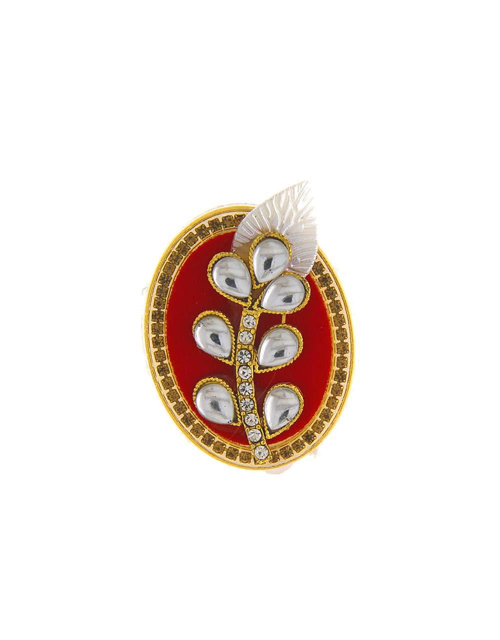 Anuradha Art Red Colour Oval Shape Wonderful Adorable Sari/Saree Pin for Women/Girls