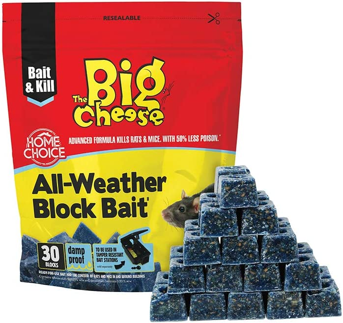 All Weather The Big Cheese Block Mouse Bait Rat Killer Rodent Poison 30 Blocks