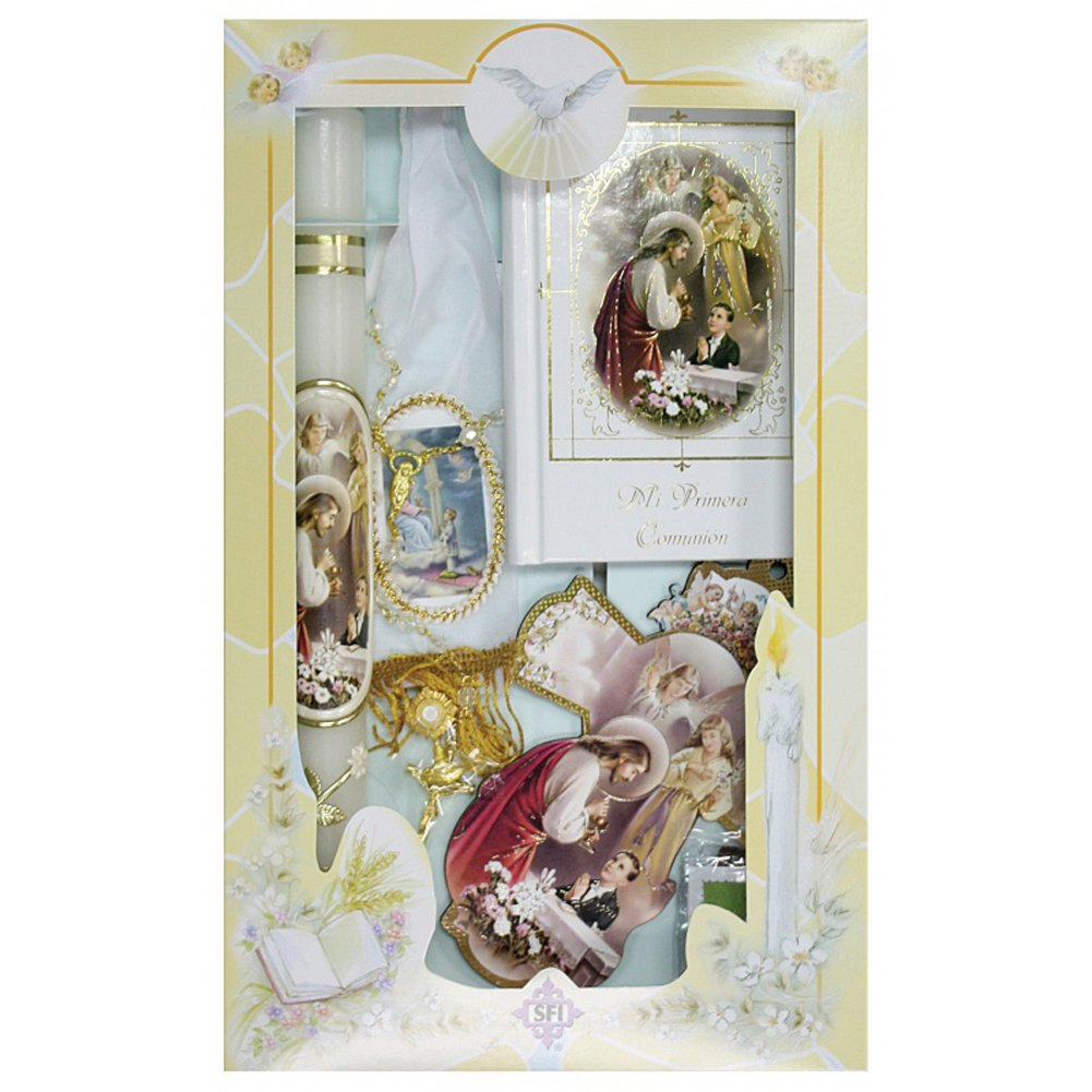New Boys First Holy Communion Complete Candle Gift 6 Pc Set Cross Keepsake in English Rosary Boxed