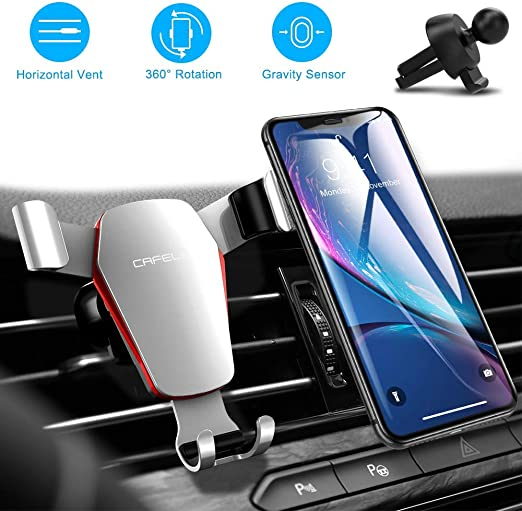 CAFELE Car Phone Mount Air Vent Holder Samsung S10 Plus S9 S8 S7 S6 Google Universal Cell Phone Holder for Car Auto Locking Angle Free Cradle Compatible for iPhone XR XS Max X 8 7 6 Plus