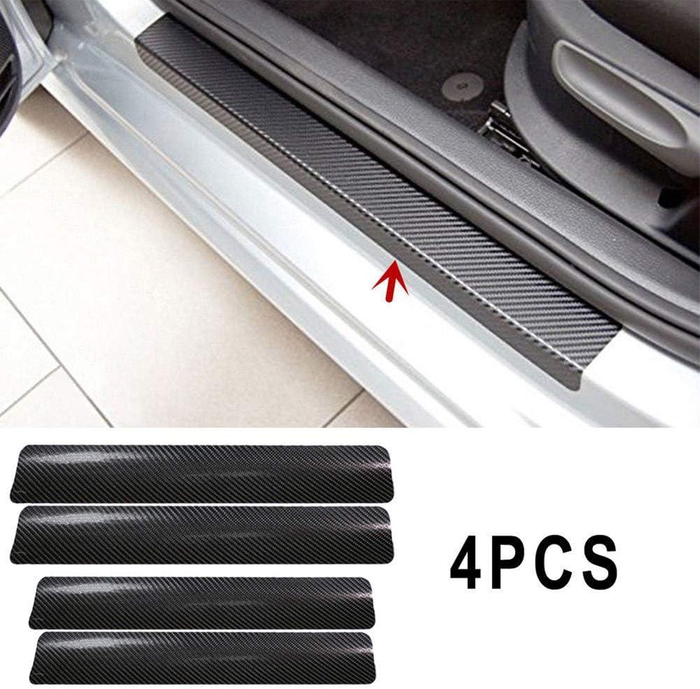 Grebest Car Door Sill Sticker External Decoration Car Sticker 4Pcs//Set 3D Carbon Fiber Car Door Sill Scuff Cover Anti-Scratch Film Sticker Black