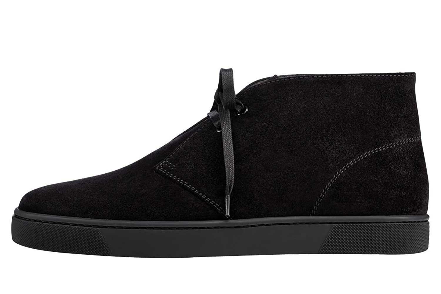 Aibarbie Men's Fashion Brand High-top Boots Lace Up Handcrafted Flat Suede Shoes Black 10 M US