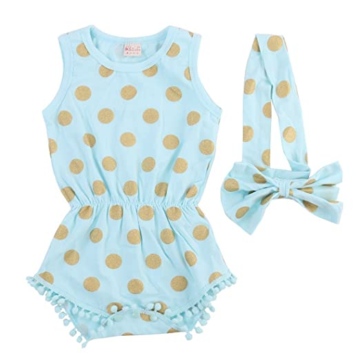e1b795b0f Baby Girl Clothes Gold Dots Bodysuit Romper Jumpsuit One-pieces Outfits Set  (0-