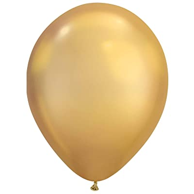 Qualatex Chrome Solid Gold Shine 7 Inch Latex Balloons 100 Count: Toys & Games