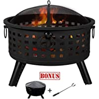 Weanas Fire Pit Set, Wood Burning Pit with Screen Cover and Log Poker Great for Outdoor Wood-Burning, Backyard, Camping, Picnic, Bonfire