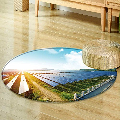Anti-Skid Area Rugphotovoltaic panels for renewable electric production navarra aragon spain Soft Area Rugs-Round 24'' by PRUNUSHOME