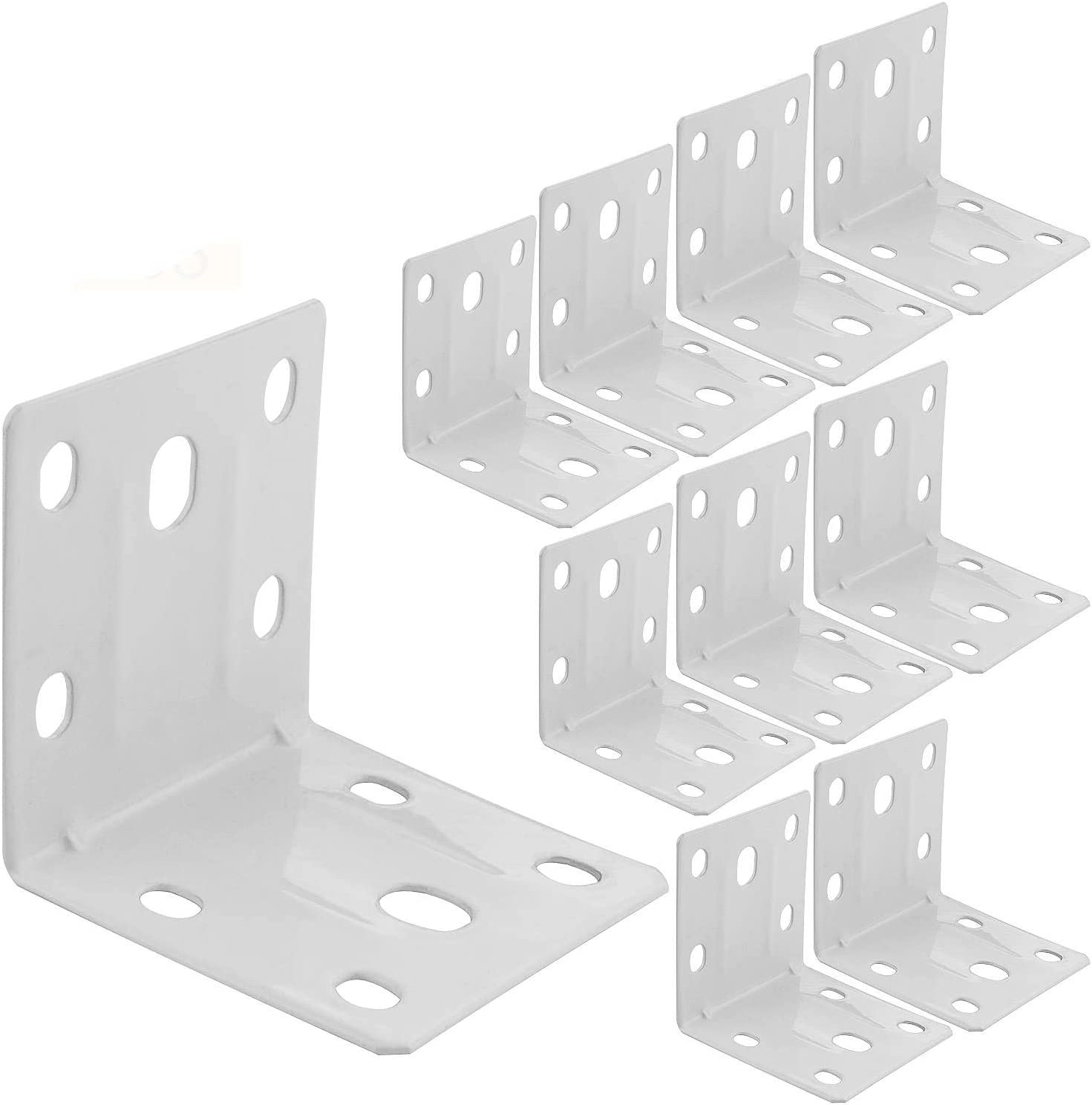 Furniture and Cabinet Round End 50MM X 50MM X 50MM L Bracket Cast Iron for Furniture Corner Steel Joint Right Angle Shelf Support Corner for Shelves 36 PCS White Corner Brace